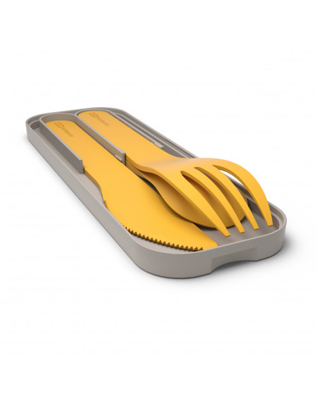 Couverts biodégradables jaune moutarde