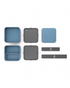 Boîte bento carrée Bleu denim