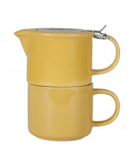 Théière égoïste jaune moutarde