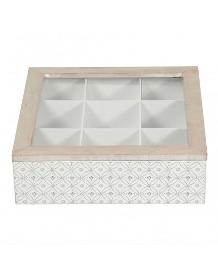 Boîte à thé rectangle 9 compartiments